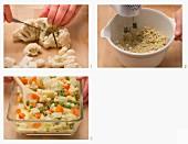 Gemüse-Nuss-Crumble zubereiten