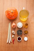 Ingredients for cream of pumpkin soup with curry