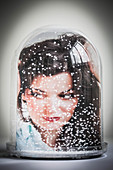 Woman with dandruff, conceptual image