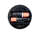AA batteries in a flashlight
