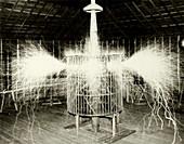Tesla coil experiment, circa 1899