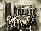 Tesla at a formal dinner, 1910