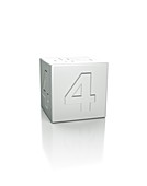 Cube with the number 4 embossed.