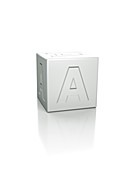 Cube with the letter A embossed.