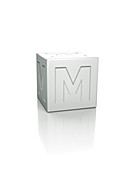 Cube with the letter M embossed.