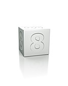 Cube with the number 8 embossed.
