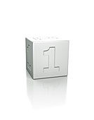 Cube with the number 1 embossed.