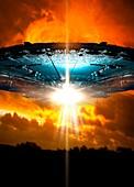 UFO against orange sky