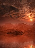 Storm clouds swirling above planet