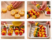 Vegan vegetable skewers being prepared for the BBQ