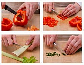 How to prepare chilli peppers, celery, and chives (for a spicy meal)