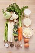 Ingredients for spring vegetable gratin