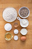 Ingredients for quick and easy bread rolls with sunflower seeds