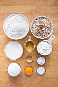 Ingredients for muesli bread