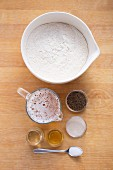 Ingredients for mini caraway seed and beer baguettes
