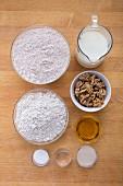 Zutaten für Dinkel-Roggen-Stangenbrot mit Walnüssen