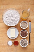 Ingredients for crispy crackers with seeds