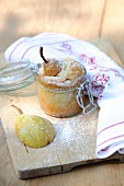 A small pear cake in a glass jar