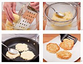 Potato fritters being made