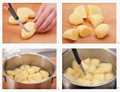 Peeled and boiled potatoes being made