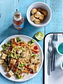 Asian noodle and vegetable stir-fry with tofu