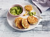 Quick and easy corn fritters with pea guacamole
