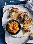 Veal schnitzel rolls with ajvar and sweet potato mash