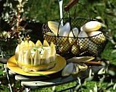 Chicoree-Torte auf Gartenstuhl im Freien