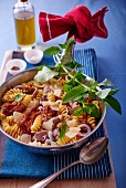 Fusilli with tuna, sundried tomatoes, onion and parmesan