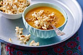Butternut squash soup with popcorn