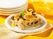 Bread pudding with dried fruits and kumquats