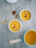 Spicy banana and sweet potato soup with coconut