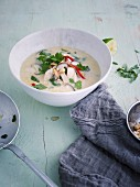 Thai coconut soup with chicken and shiitake mushrooms