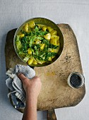 Savoy cabbage and potato curry with coconut