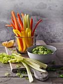 Raw vegetable sticks with edamame dip (Sirtfood)