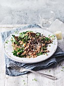 Vegetarian buckwheat and kale risotto with porcini mushrooms (Sirtfood)