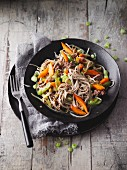 Wok-fried minced beef with vegetables and soba noodles (Sirtfood)