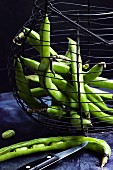 Green beans in an old wire basket against a black background