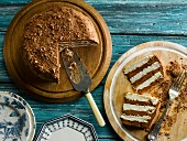 Salted chocolate meringue cake, sliced