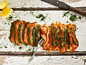 Salmon pickled in sea salt