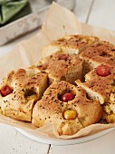 Focaccia with colourful tomatoes