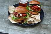 Vegetarian potato burgers with a glass of beer