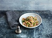 Bulgur and rocket with cooked ham