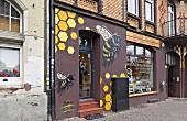 The honey shop of beekeeper Victor Hernández in Kassel, Germany