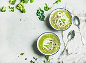 Spring broccoli green cream soup with mint and coconut cream in bowls over light grey marble background