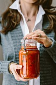 Homemade Tomato-Basil Sauce in a Jar