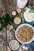Zutaten für Maccheroni and Cheese (Nudelgratin, USA)