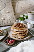 Pecan pancakes in a breakfast in bed set up