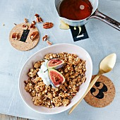 Maple syrup and pecan muesli with figs and yogurt