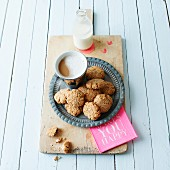 Oatmeal and coconut biscuits with coffee
